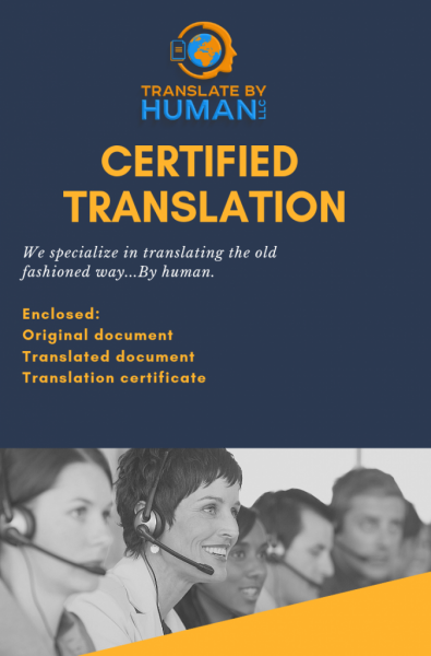 TBH certified translation cover page